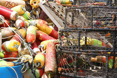 Crab traps, pots and floats Royalty Free Stock Images