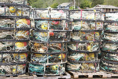 Crab traps, pots and floats, Royalty Free Stock Photo