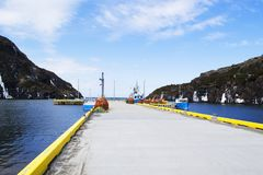 Crab traps Lark Harbour wharf in rural Newfoundland royalty free stock photos