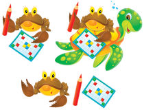 Crab, turtle and crossword. Isolated clip-arts / funny characters for your design Royalty Free Stock Images