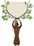 Crabapple-Baum, der ein Plakat hält Stockbild