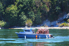 Crabbing Boat. A crabbing boat is a common sight in Puget Sound Washington with a forested hill and shoreline in the background Royalty Free Stock Photography