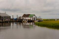 Crabbing stacja w Nowym - dżersejowi bagna fotografia stock
