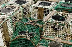 Crabbing Trap. Several aligned Crabbing traps in a fishing port in northern Spain Stock Photo