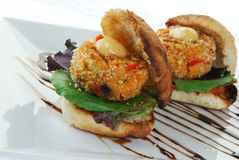 Crabcake sandwiches Royalty Free Stock Image