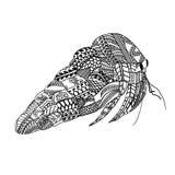 Crabe avec le modèle ethnique de griffonnage Zentangle a inspiré le modèle pour d'anti pages de livre de coloriage d'effort pour  Photo stock