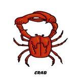 Crabe coloré de croquis comme élément de conception illustration stock