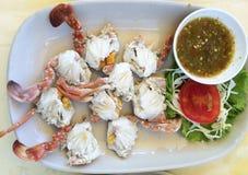 Crabe cuit à la vapeur images stock