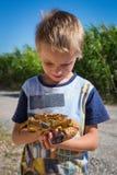 Crabe dans la main d'enfant photos stock