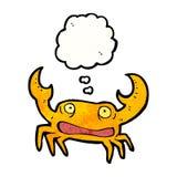 crabe de bande dessinée avec la bulle de pensée Images stock