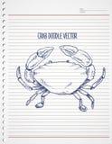 Crabe de griffonnage sur le papier Image libre de droits
