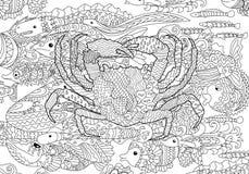 Crabe de mer avec les détails élevés illustration libre de droits