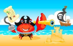 Crabe de pirate d'illustration de vecteur Images stock