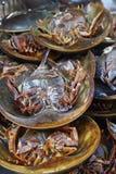 Crabe en fer à cheval frais sur le marché Images libres de droits