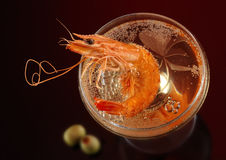 Crabe et champagne Photo stock