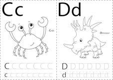 Crabe et dinosaure de bande dessinée Fiche de travail de découverte d'alphabet : inscription d'A illustration de vecteur