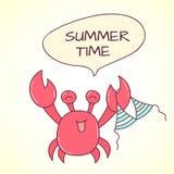 Crabe et maillot de bain de griffonnage de vecteur Images libres de droits