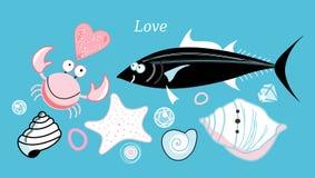 Crabe et poissons d'amour Images libres de droits