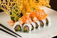 Crabe et Salmon Roll Image libre de droits