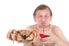 Crabe et vin Photo stock