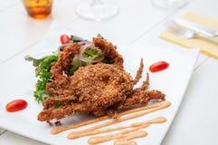 Crabe mou cuit à la friteuse d'interpréteur de commandes interactif images stock