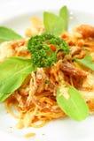 Crabe mou de coquille de spaghetti Photographie stock libre de droits
