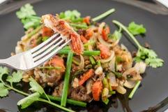 Crabe plus mou frit avec le peper noir, style thaïlandais de fruits de mer Photographie stock libre de droits