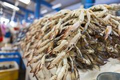 Crabes frais à la poissonnerie de Dubaï, EAU Image stock