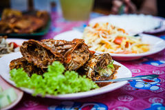 Crabes frits Photo stock
