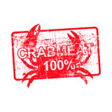 Crabmeat 100 percent - red rubber dirty grungy stamp. In rectangular vector illustration Stock Photo