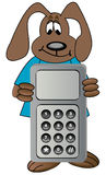 Crabot de dessin animé avec le téléphone portable Images libres de droits