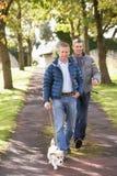 Crabot de marche de deux amis mâles à l'extérieur Photographie stock libre de droits