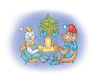 Crabot et chat sur Noël Photo libre de droits