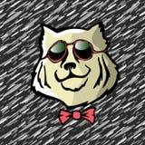 Crabot frais le berger caucasien Dog de griffonnage font face Illustration de vecteur Portrait d'un chien sûr sérieux avec des ve Photographie stock