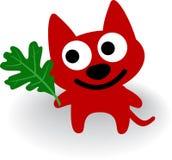 Crabot rouge avec la lame de l'arbre de chêne Photos libres de droits