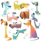 Crabots de dessin animé réglés Illustrations de vecteur des icônes de chiens Image libre de droits