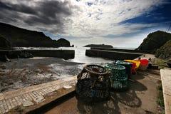 Crabpots au port de meneau Images libres de droits