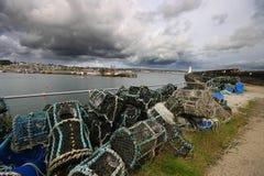 Crabpots chez Newlyn Photo libre de droits
