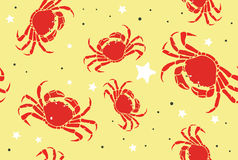 Crabs on a Beach Seamless Pattern Stock Photography