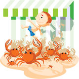 Crabs chase a boy Stock Photos