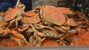 Crabs are cooked in the market stock footage