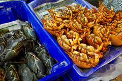 Crabs on fish market Royalty Free Stock Images