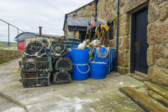 Crabs fishing traps in Sennen cove fishing harbor Royalty Free Stock Photo