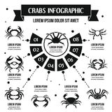 Crabs infographic concept, simple style Royalty Free Stock Photo