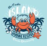 Crabs Island kids ocean discovery. Vector artwork for children wear vector illustration