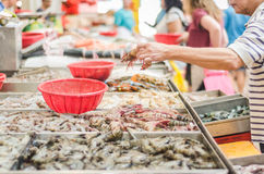 Crabs and lobster at the fish market. S Stock Images