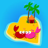 Crabs in love island. Stock Image