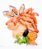 Crabs, mussels, shrimps Royalty Free Stock Photos