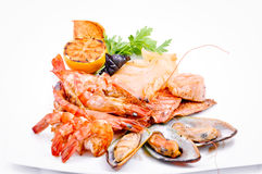 Crabs, mussels, shrimps Stock Photography