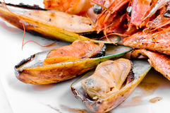 Crabs, mussels, shrimps Stock Photo
